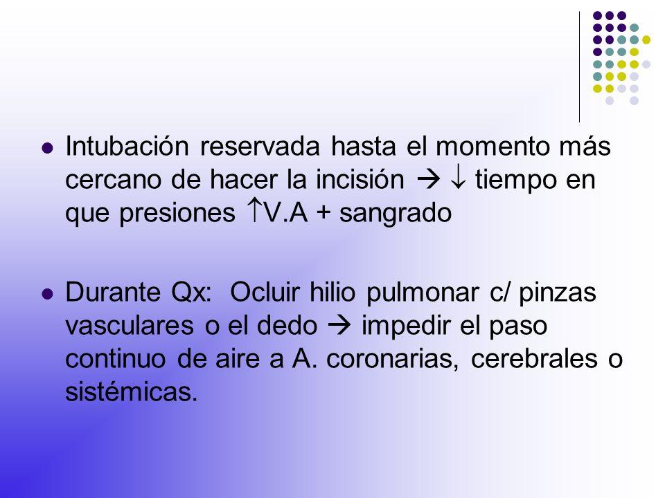 Intubación reservada hasta el momento más cercano de hacer la incisión   tiempo en que presiones V.A + sangrado