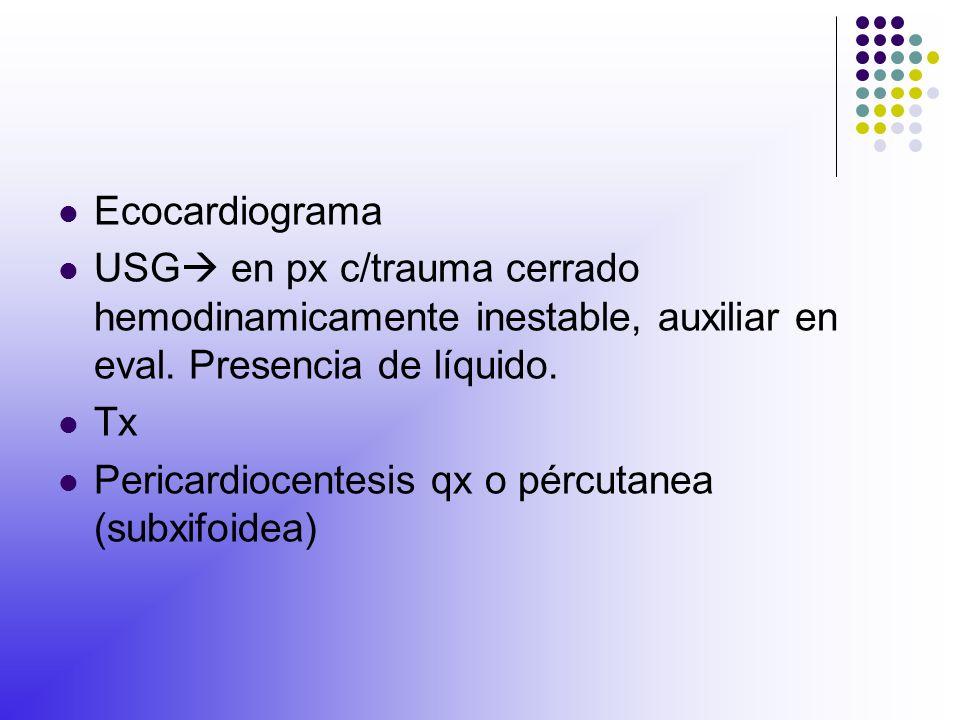Ecocardiograma USG en px c/trauma cerrado hemodinamicamente inestable, auxiliar en eval. Presencia de líquido.