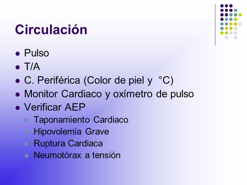 Circulación Pulso T/A C. Periférica (Color de piel y °C)