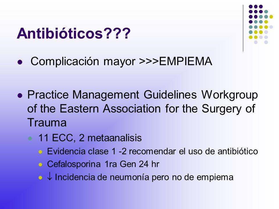 Antibióticos Complicación mayor >>>EMPIEMA