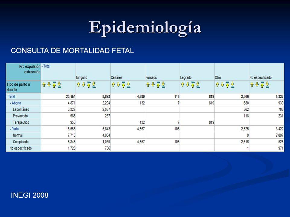 Epidemiología CONSULTA DE MORTALIDAD FETAL INEGI 2008