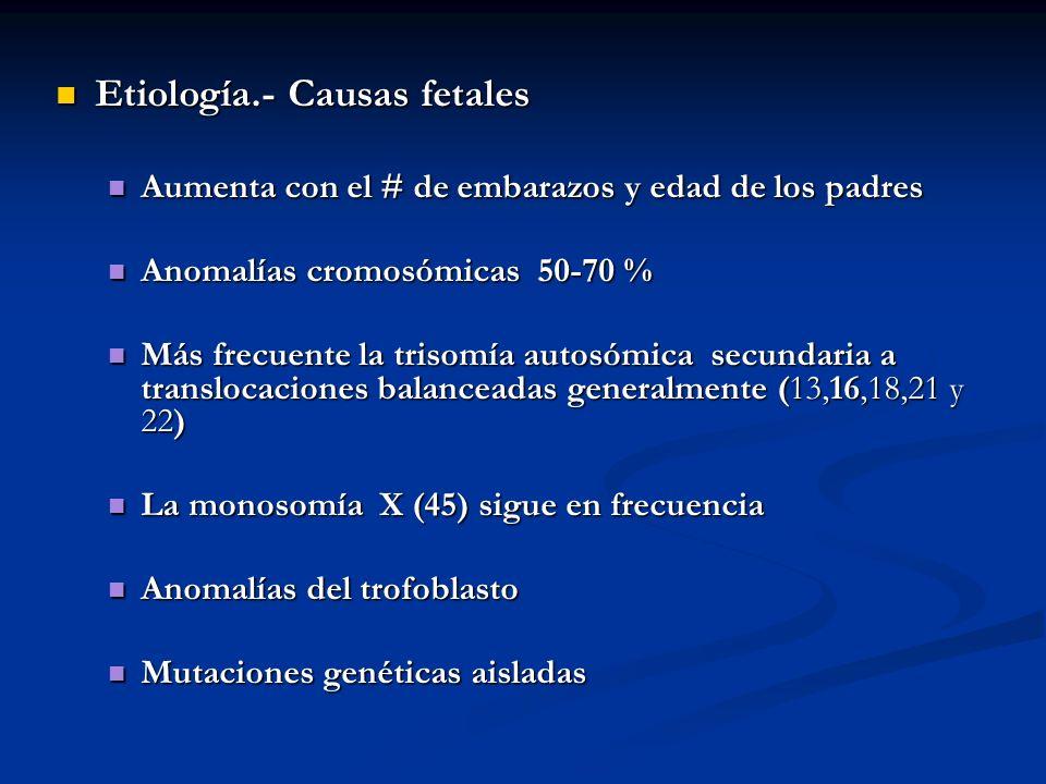 Etiología.- Causas fetales