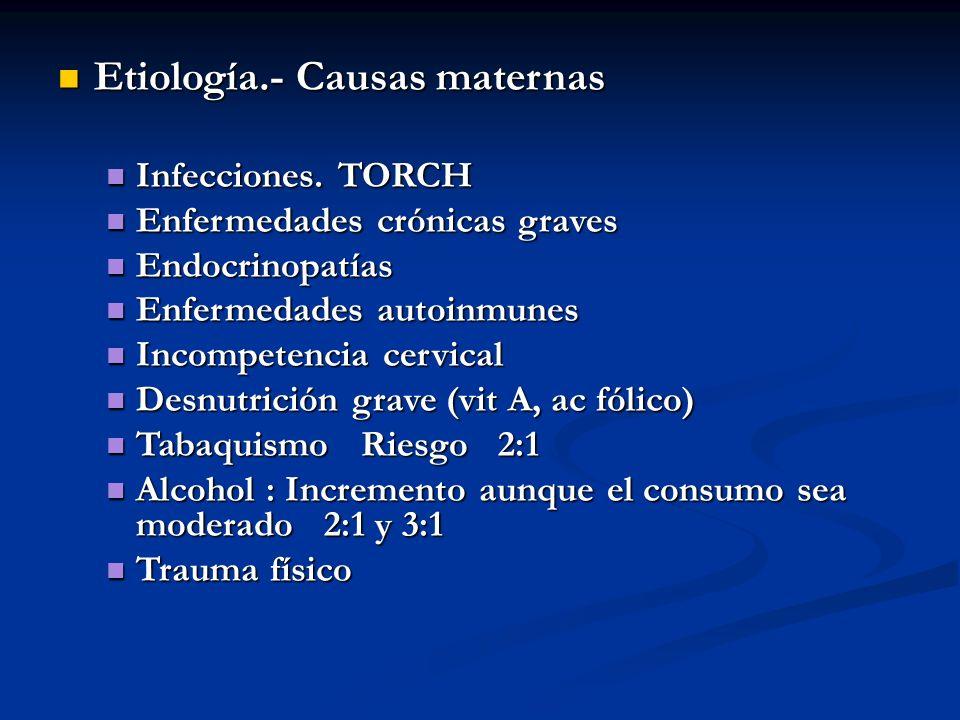 Etiología.- Causas maternas