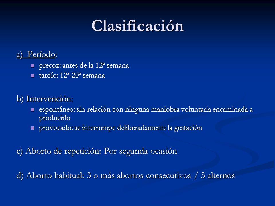Clasificación a) Período: b) Intervención: