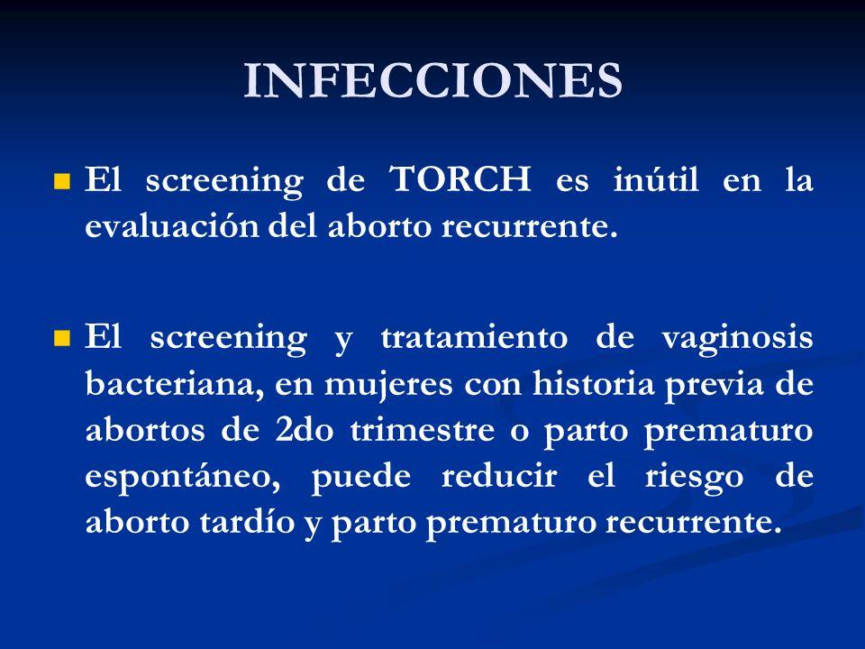 INFECCIONES El screening de TORCH es inútil en la evaluación del aborto recurrente.