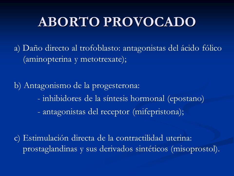 ABORTO PROVOCADO a) Daño directo al trofoblasto: antagonistas del ácido fólico (aminopterina y metotrexate);