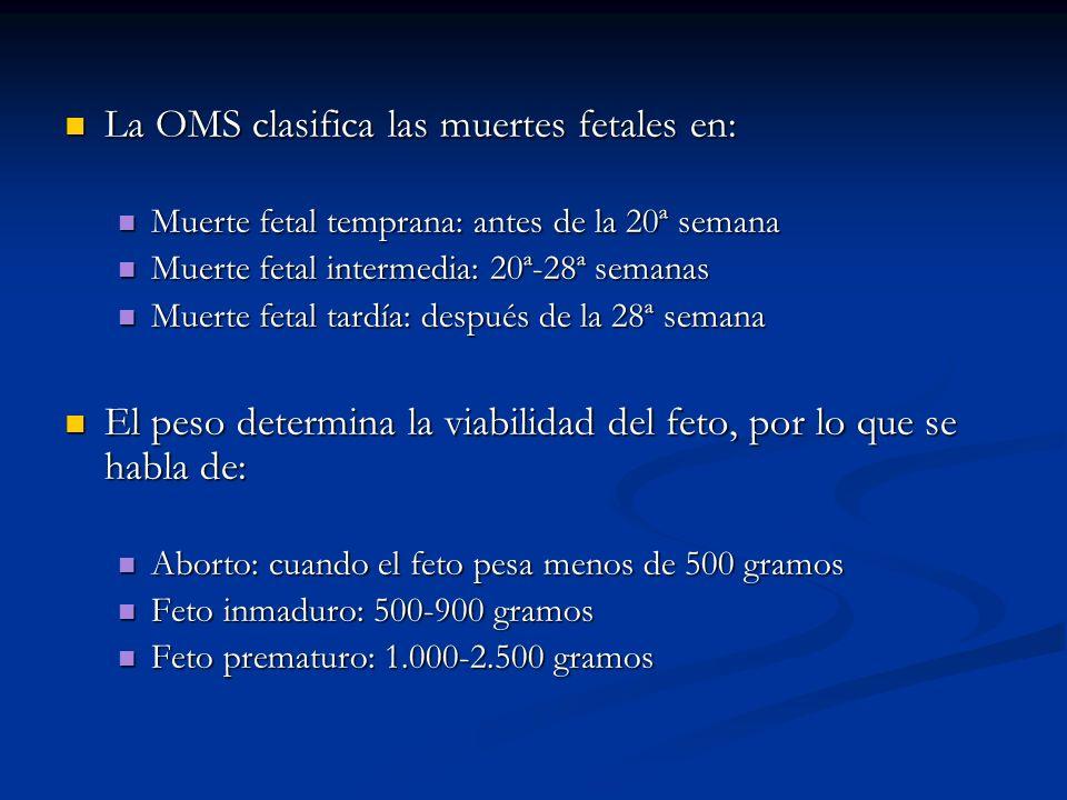 La OMS clasifica las muertes fetales en: