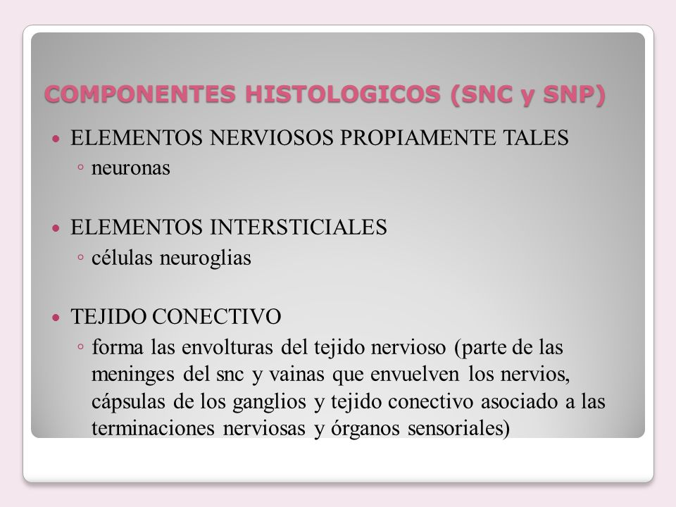COMPONENTES HISTOLOGICOS (SNC y SNP)