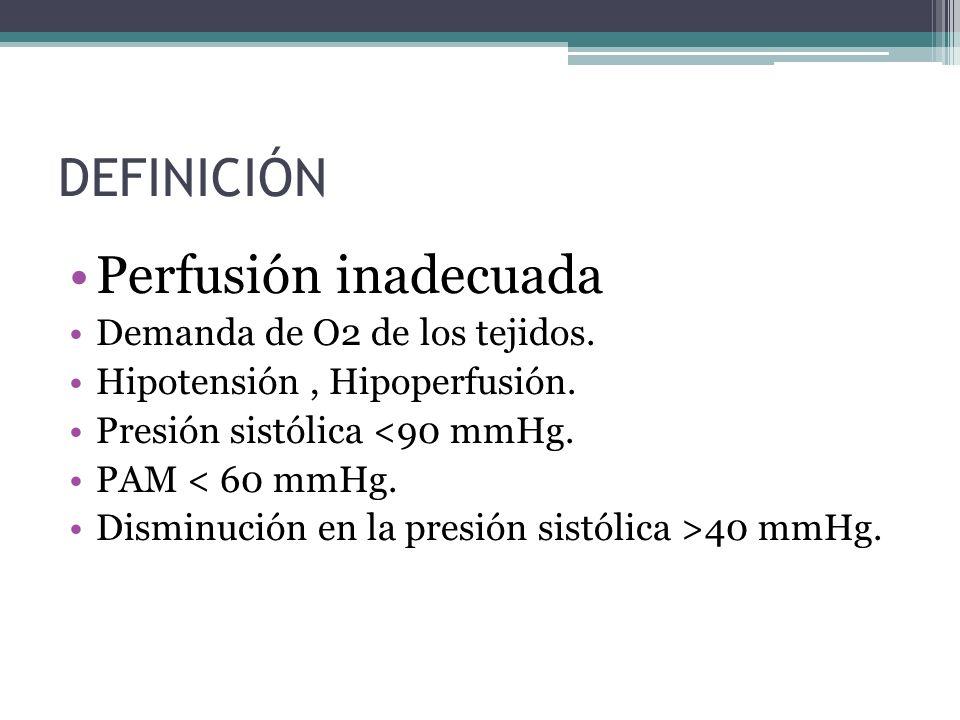 DEFINICIÓN Perfusión inadecuada Demanda de O2 de los tejidos.