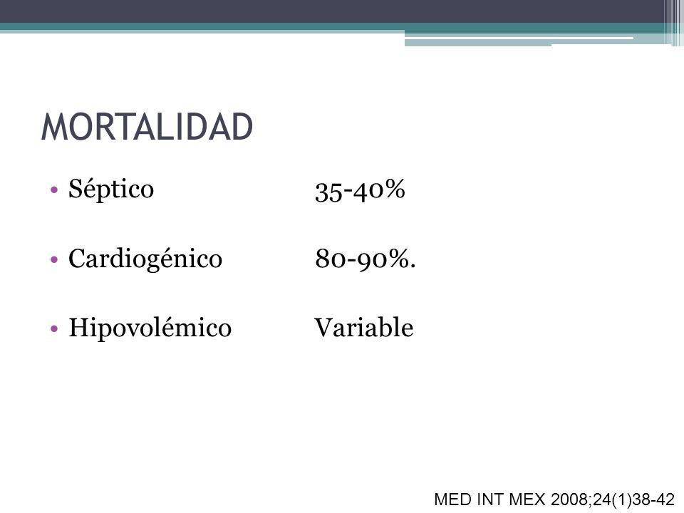 MORTALIDAD Séptico 35-40% Cardiogénico 80-90%. Hipovolémico Variable