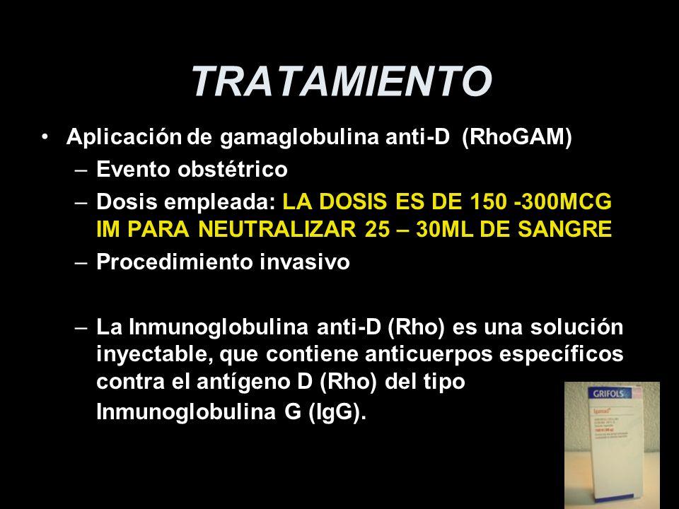 TRATAMIENTO Aplicación de gamaglobulina anti-D (RhoGAM)
