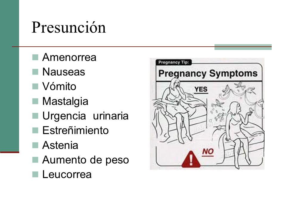 Presunción Amenorrea Nauseas Vómito Mastalgia Urgencia urinaria