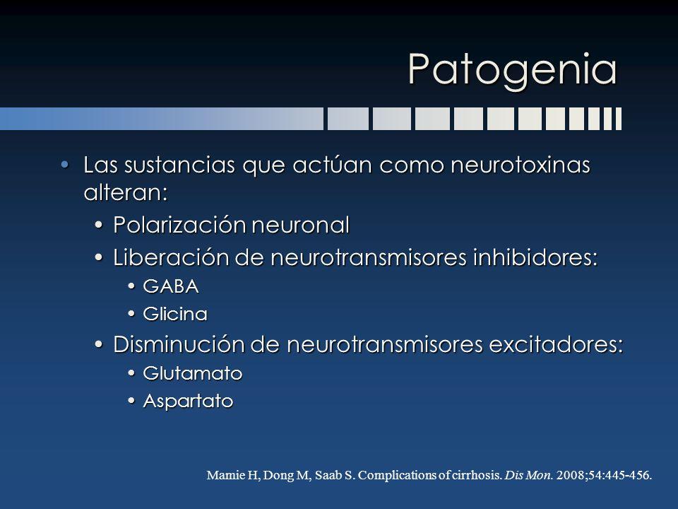 Patogenia Las sustancias que actúan como neurotoxinas alteran: