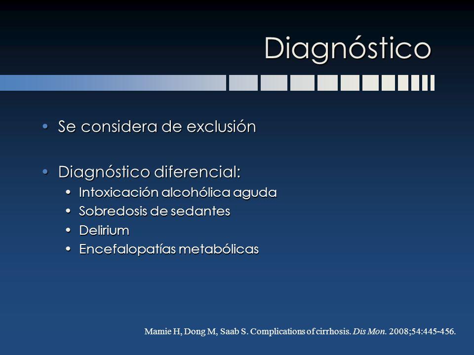 Diagnóstico Se considera de exclusión Diagnóstico diferencial: