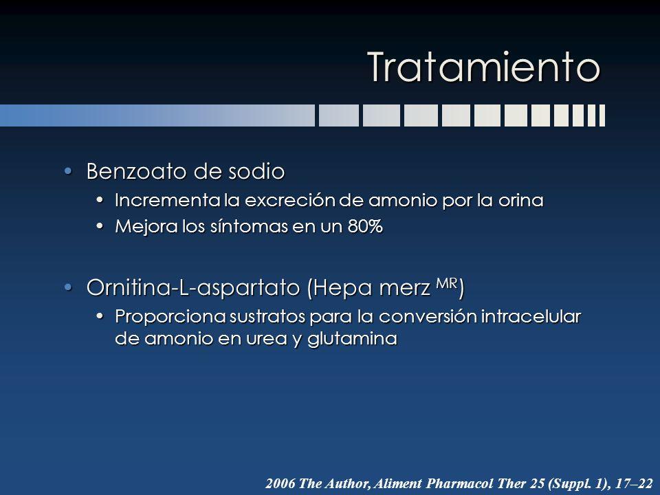 Tratamiento Benzoato de sodio Ornitina-L-aspartato (Hepa merz MR)