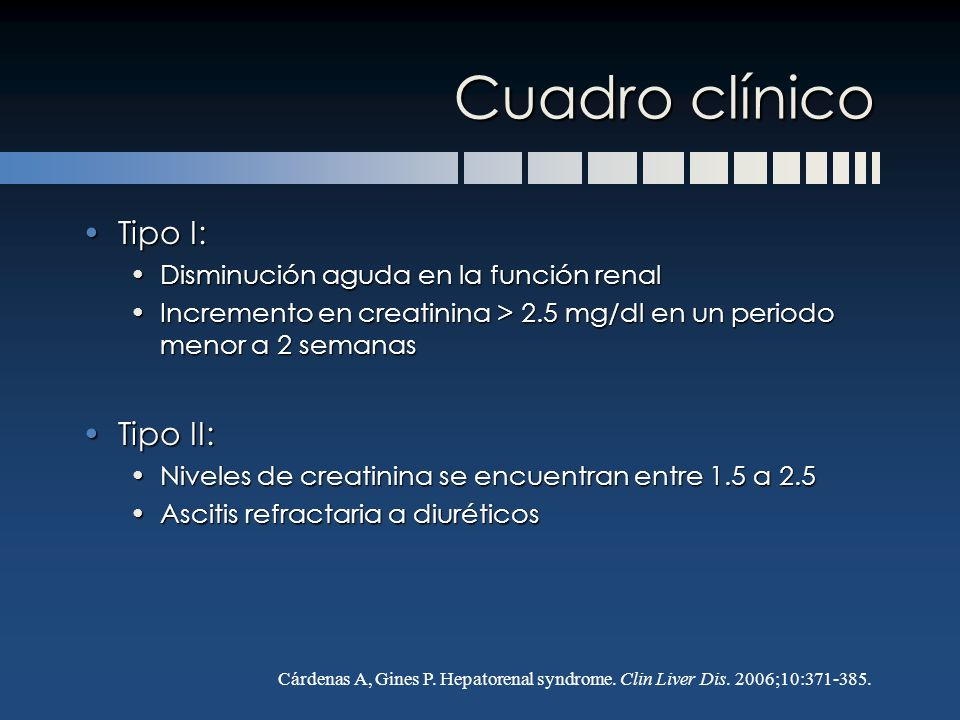 Cuadro clínico Tipo I: Tipo II: Disminución aguda en la función renal