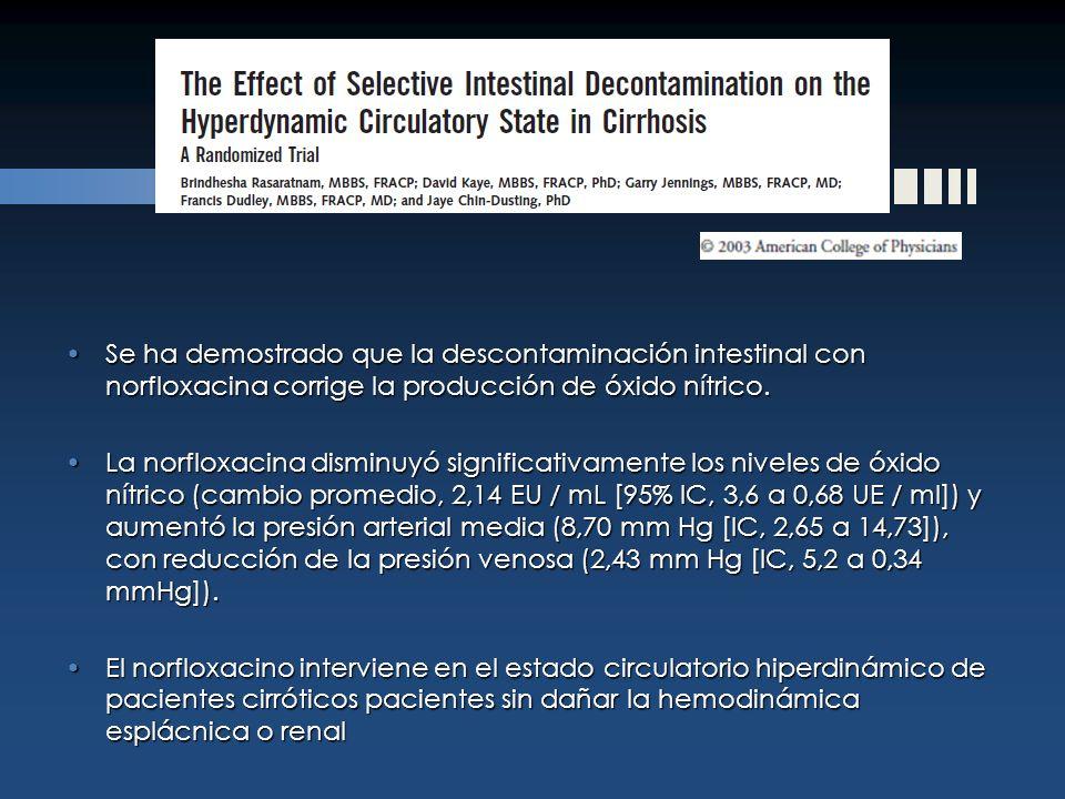 Se ha demostrado que la descontaminación intestinal con norfloxacina corrige la producción de óxido nítrico.