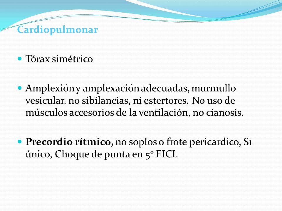CardiopulmonarTórax simétrico.