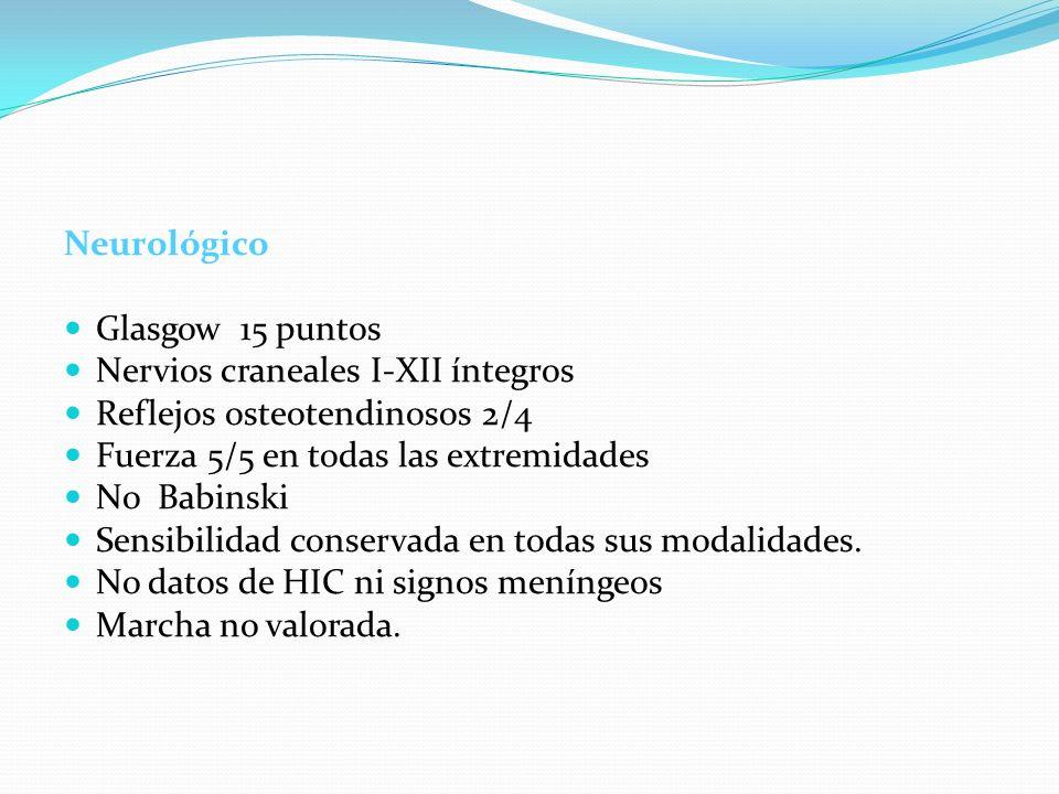 NeurológicoGlasgow 15 puntos. Nervios craneales I-XII íntegros. Reflejos osteotendinosos 2/4. Fuerza 5/5 en todas las extremidades.