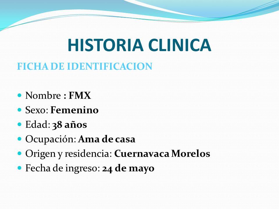 HISTORIA CLINICA FICHA DE IDENTIFICACION Nombre : FMX Sexo: Femenino