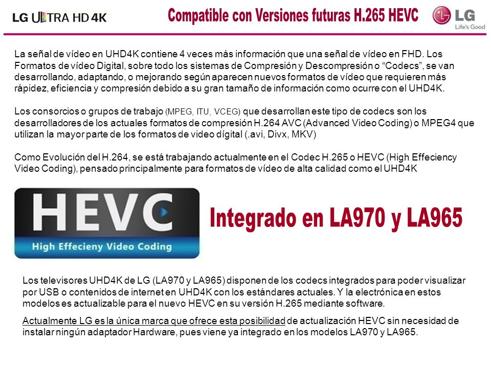 Compatible con Versiones futuras H.265 HEVC
