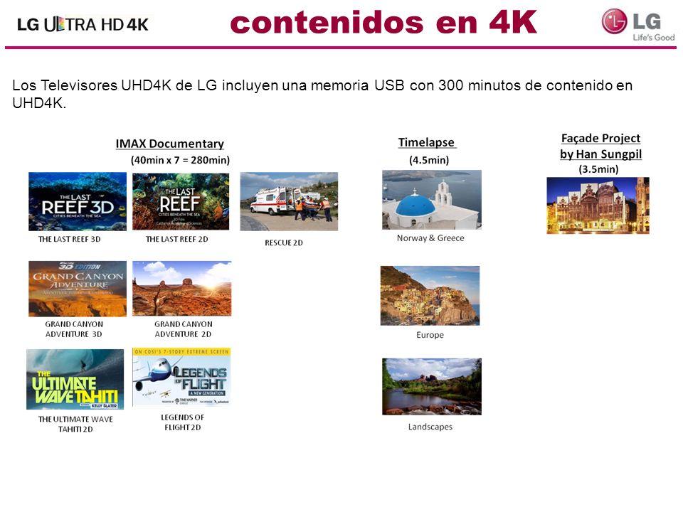 contenidos en 4KLos Televisores UHD4K de LG incluyen una memoria USB con 300 minutos de contenido en UHD4K.