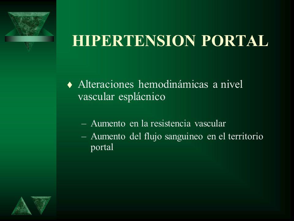 HIPERTENSION PORTAL Alteraciones hemodinámicas a nivel vascular esplácnico. Aumento en la resistencia vascular.