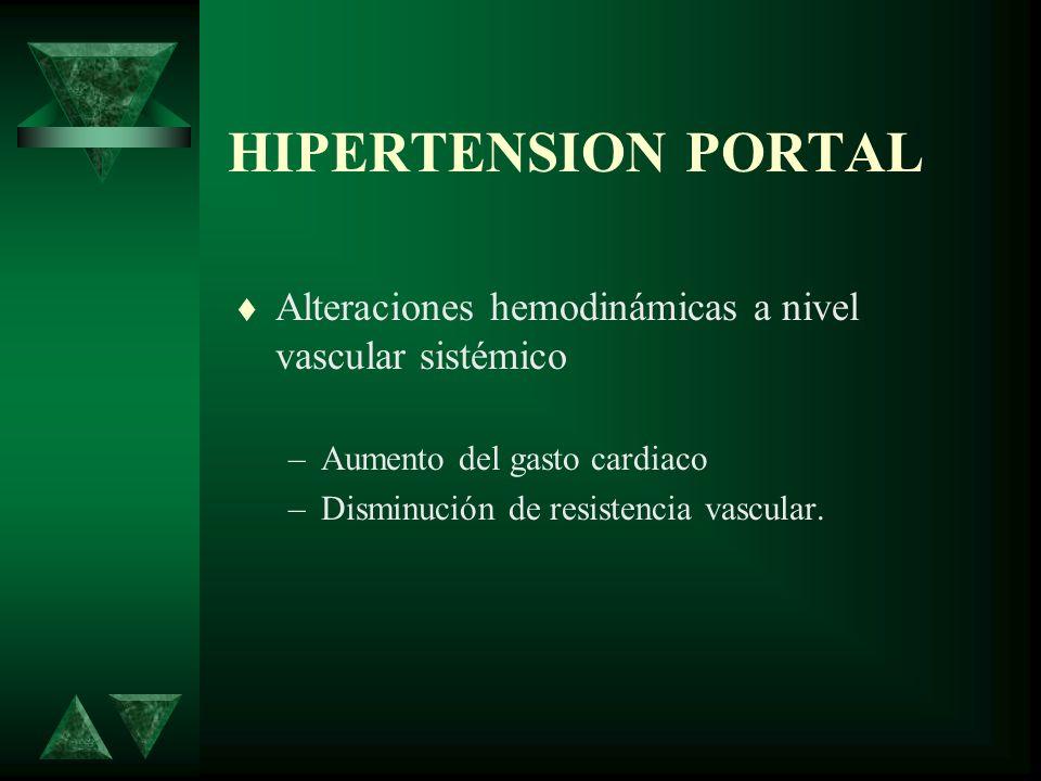 HIPERTENSION PORTALAlteraciones hemodinámicas a nivel vascular sistémico. Aumento del gasto cardiaco.