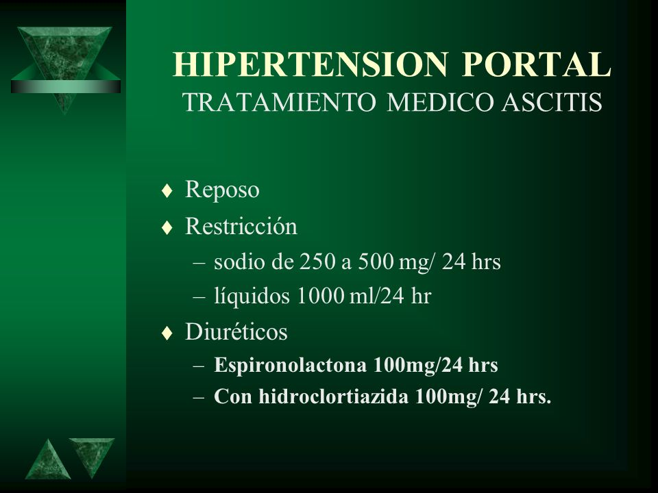 HIPERTENSION PORTAL TRATAMIENTO MEDICO ASCITIS