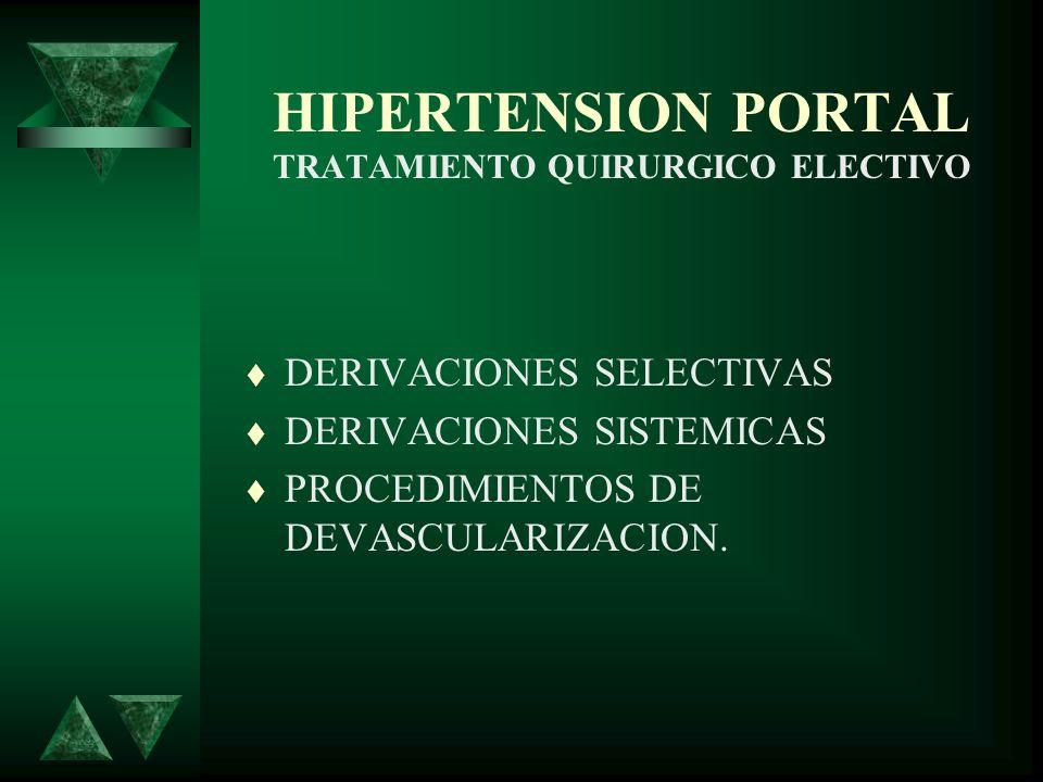 HIPERTENSION PORTAL TRATAMIENTO QUIRURGICO ELECTIVO