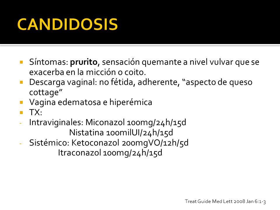 CANDIDOSIS Síntomas: prurito, sensación quemante a nivel vulvar que se exacerba en la micción o coito.