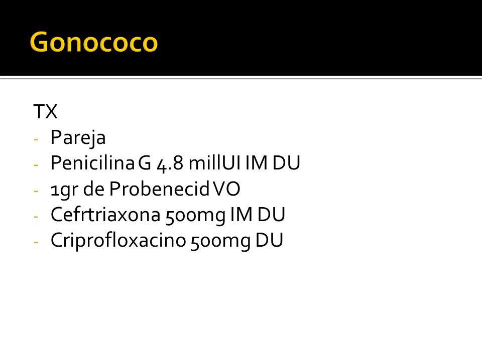 Gonococo TX Pareja Penicilina G 4.8 millUI IM DU 1gr de Probenecid VO