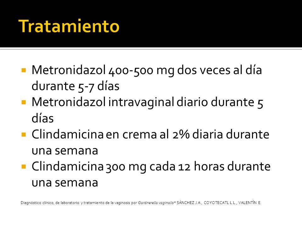 Tratamiento Metronidazol 400-500 mg dos veces al día durante 5-7 días