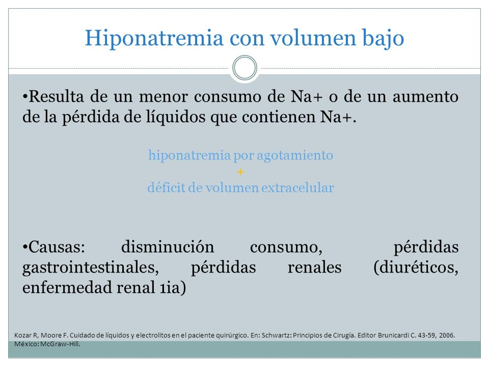 Hiponatremia con volumen bajo