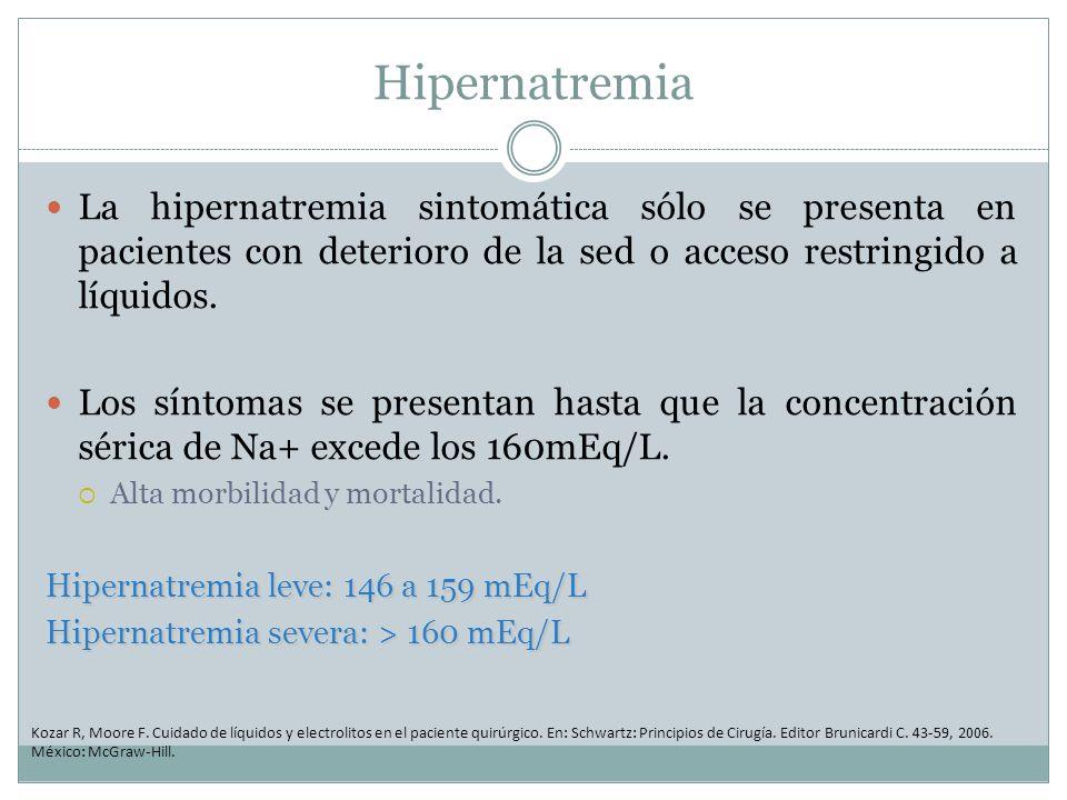 Hipernatremia La hipernatremia sintomática sólo se presenta en pacientes con deterioro de la sed o acceso restringido a líquidos.