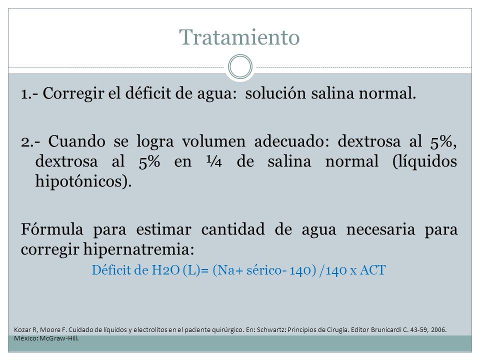 Déficit de H2O (L)= (Na+ sérico- 140) /140 x ACT