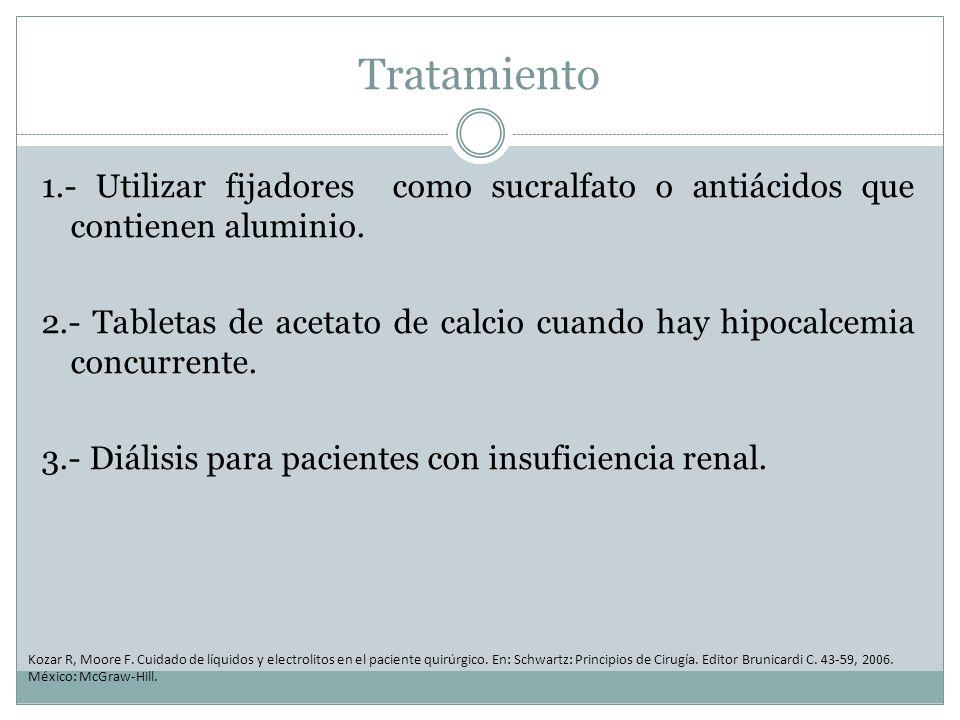 Tratamiento 1.- Utilizar fijadores como sucralfato o antiácidos que contienen aluminio.