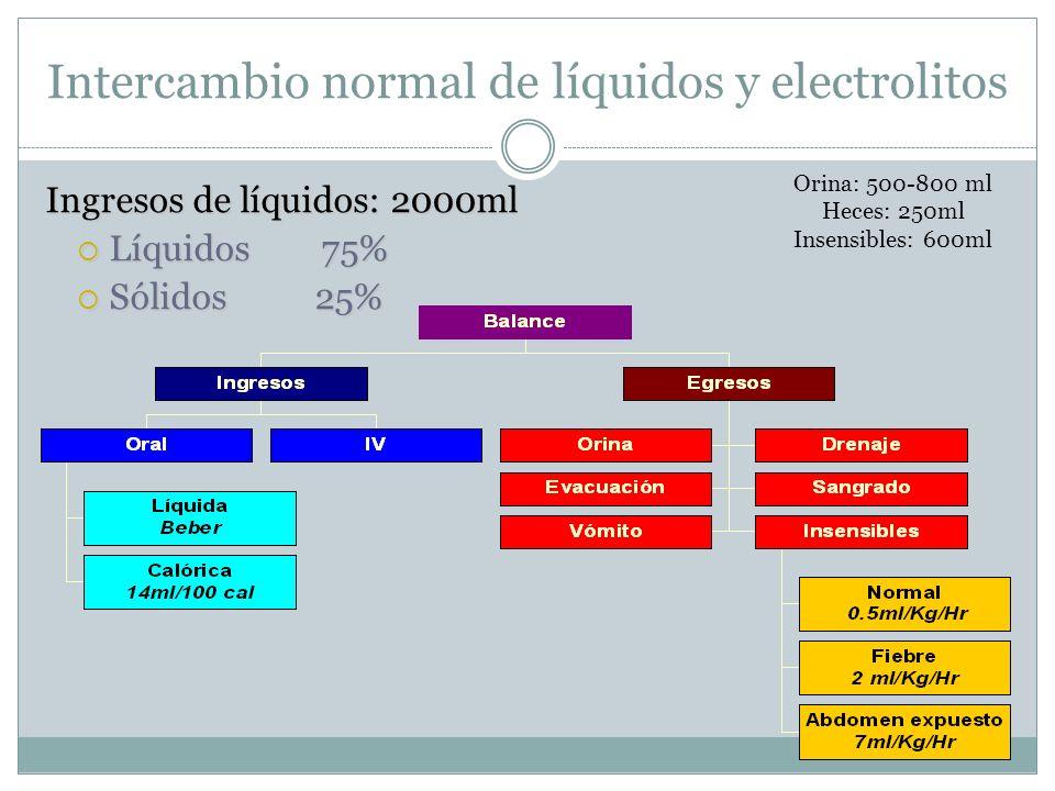 Intercambio normal de líquidos y electrolitos