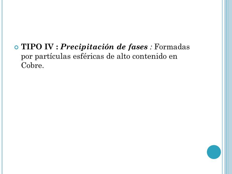 TIPO IV : Precipitación de fases : Formadas por partículas esféricas de alto contenido en Cobre.