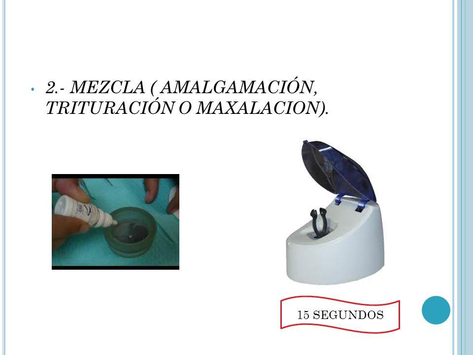 2.- MEZCLA ( AMALGAMACIÓN, TRITURACIÓN O MAXALACION).