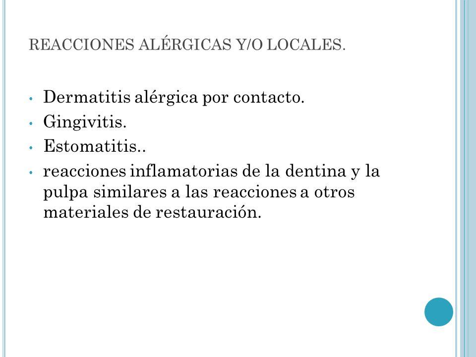 REACCIONES ALÉRGICAS Y/O LOCALES.