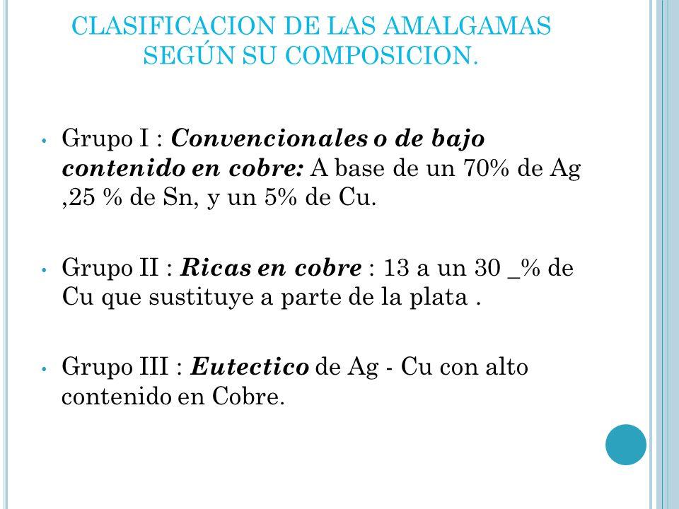 CLASIFICACION DE LAS AMALGAMAS SEGÚN SU COMPOSICION.