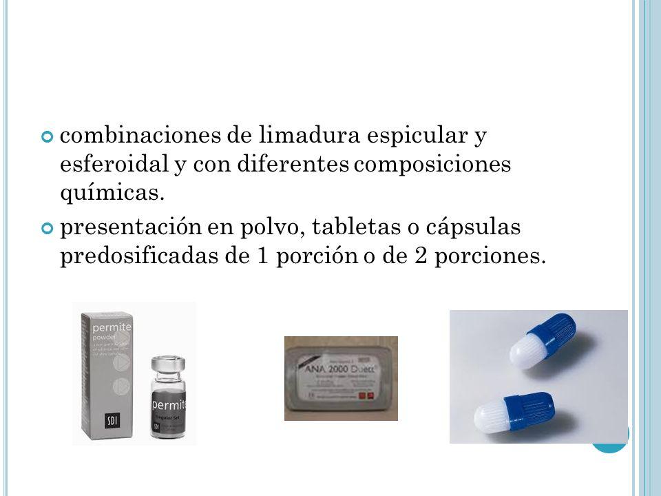 combinaciones de limadura espicular y esferoidal y con diferentes composiciones químicas.