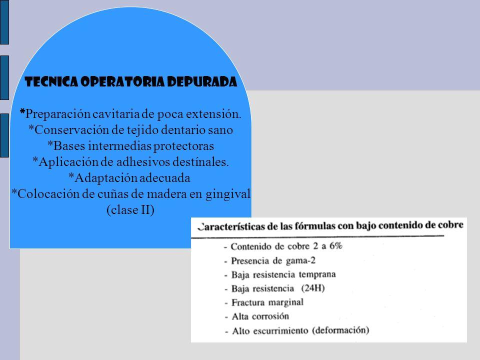 TECNICA OPERATORIA DEPURADA *Preparación cavitaria de poca extensión.