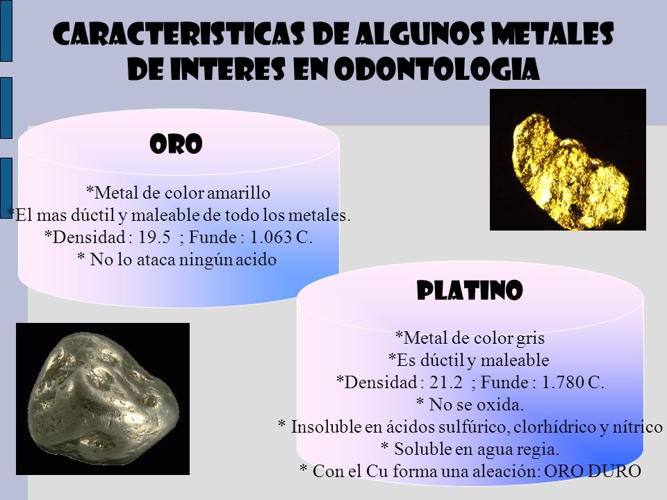 CARACTERISTICAS DE ALGUNOS METALES DE INTERES EN ODONTOLOGIA