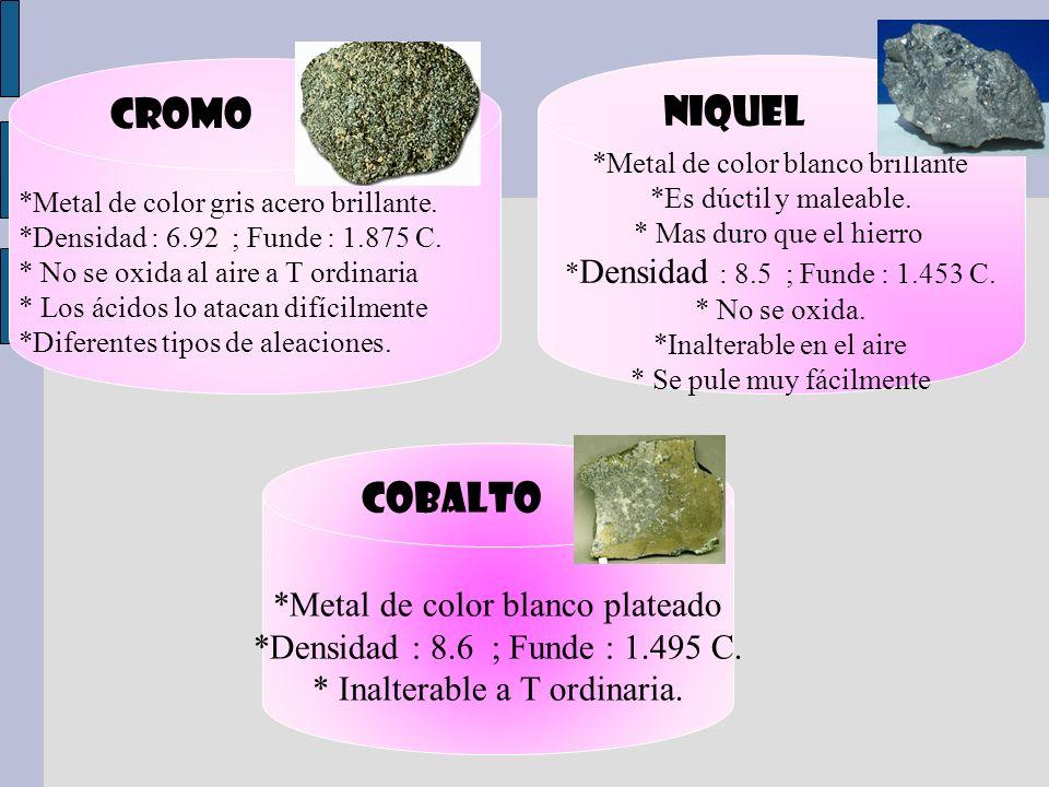 CROMO NIQUEL COBALTO *Metal de color blanco plateado