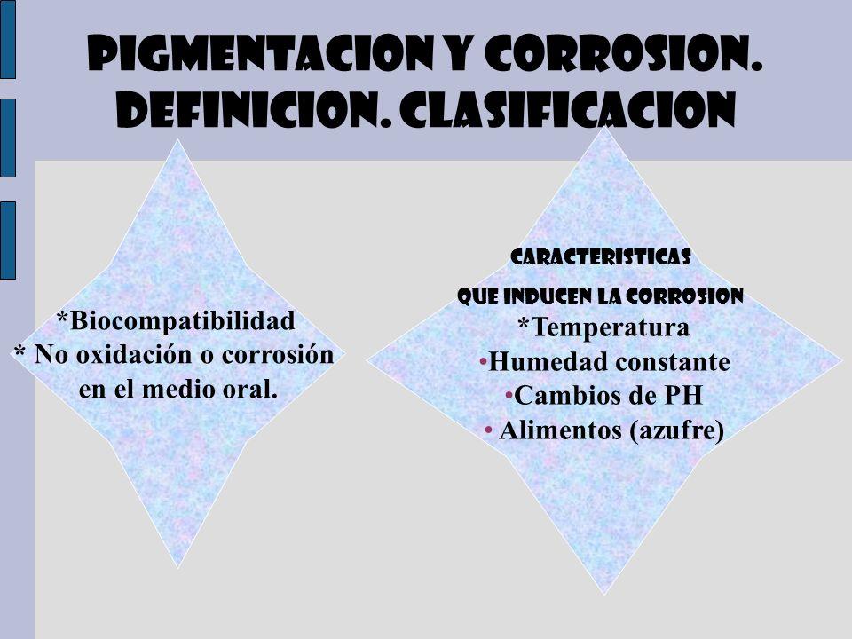 PIGMENTACION Y CORROSION. DEFINICION. CLASIFICACION