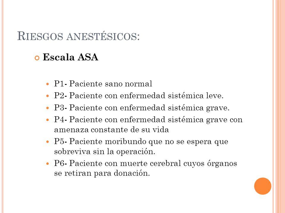 Riesgos anestésicos: Escala ASA P1- Paciente sano normal