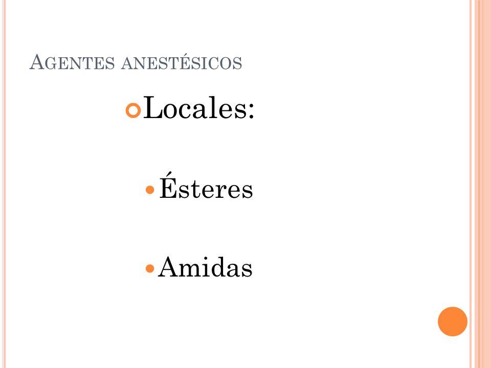 Agentes anestésicos Locales: Ésteres Amidas