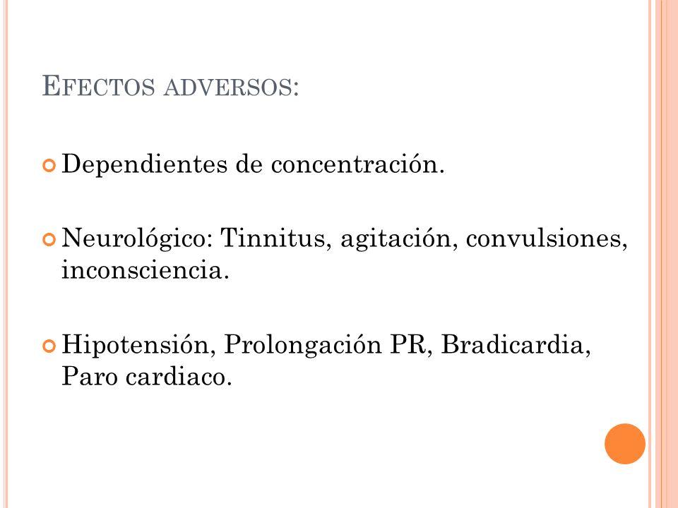 Efectos adversos: Dependientes de concentración.